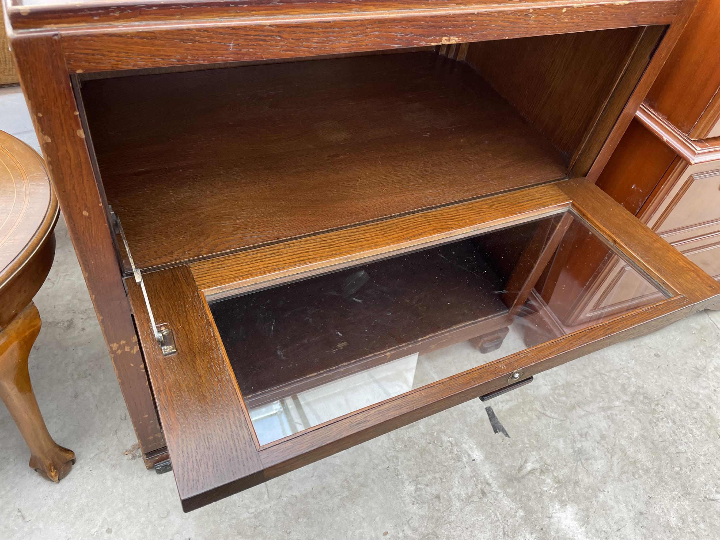 """A MID 20TH CENTURY OAK CABINET WITH DROP-DOWN GLASS DOOR ON OPEN BASE, 30"""" WIDE - Image 4 of 4"""