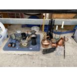 AN ASSORTMENT OF ITEMS TO INCLUDE A COPPER KETTLE, TANKARDS AND CANDLE STICKS