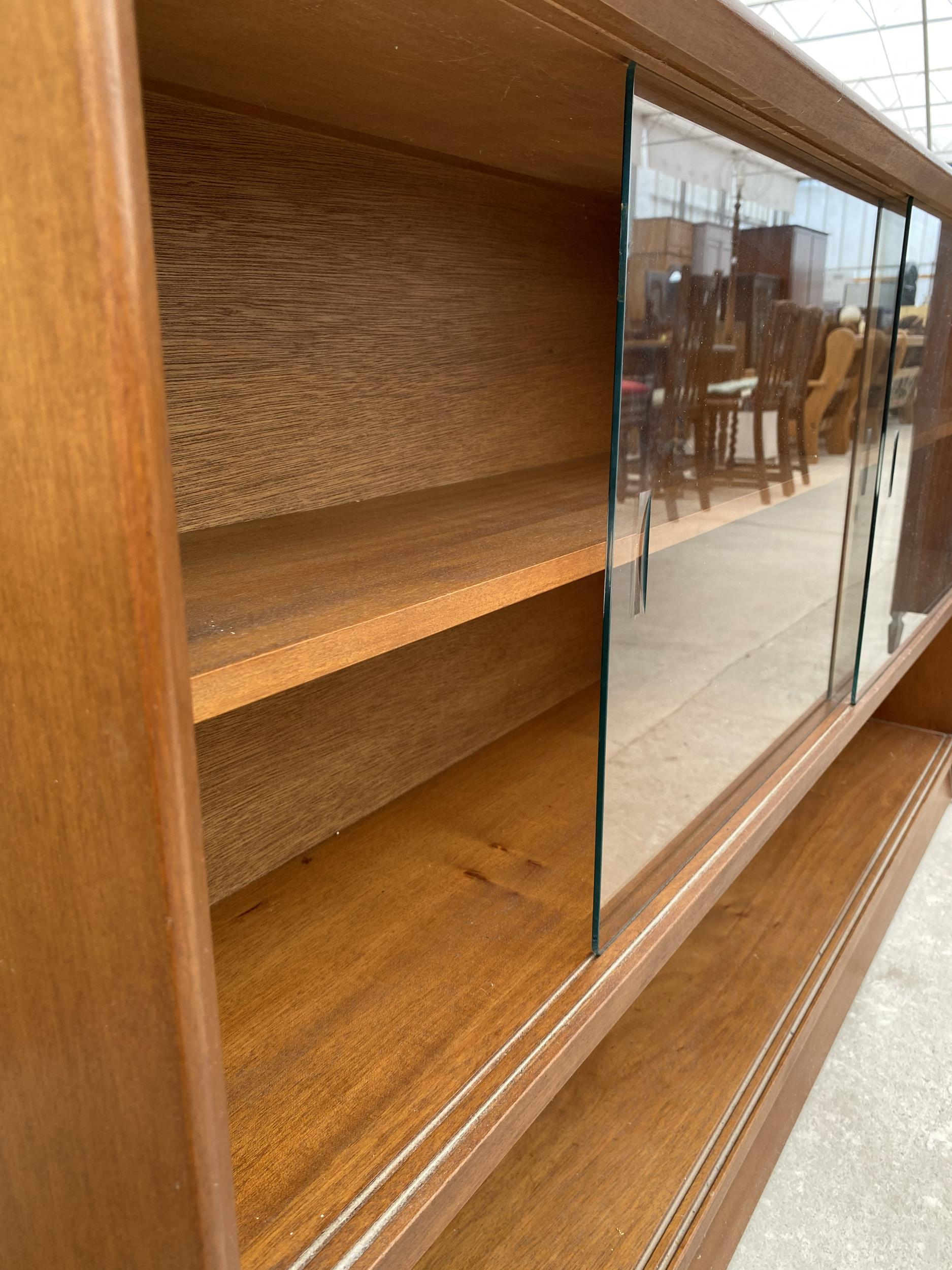"""A RETRO TEAK HERBENT AND GIBBS GLASS FRAMED BOOKCASE 60"""" WIDE - Image 5 of 6"""