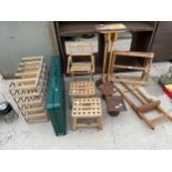 AN ASSORTMENT OF ITEMS TO INCLUDE A WINE RACK, STOOLS AND ARTISTS EASELS ETC