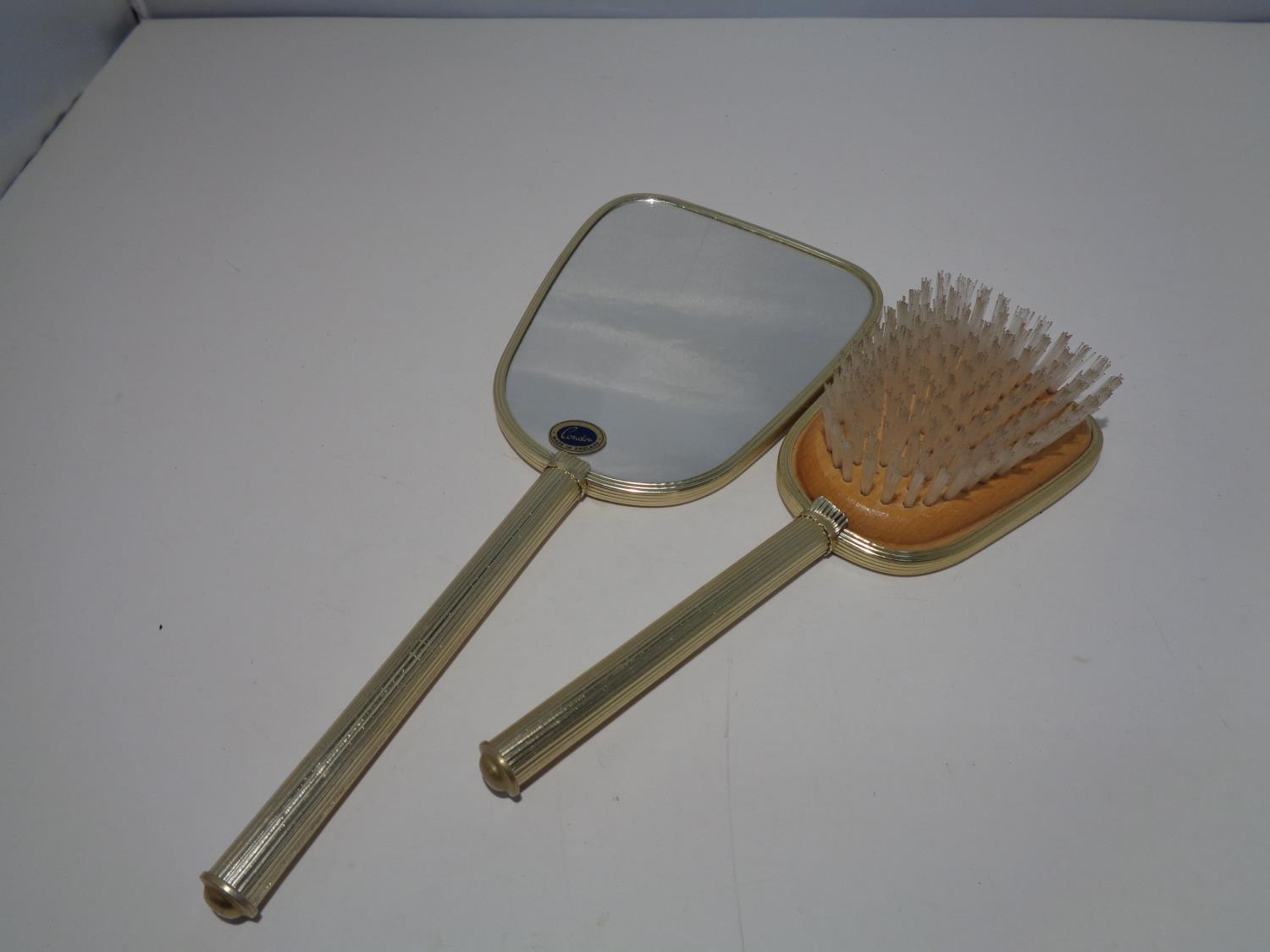 A DRESSING TABLE SET TO INCLUDE A HAND MIRROR AND MATCHING BRUSH - Image 3 of 6