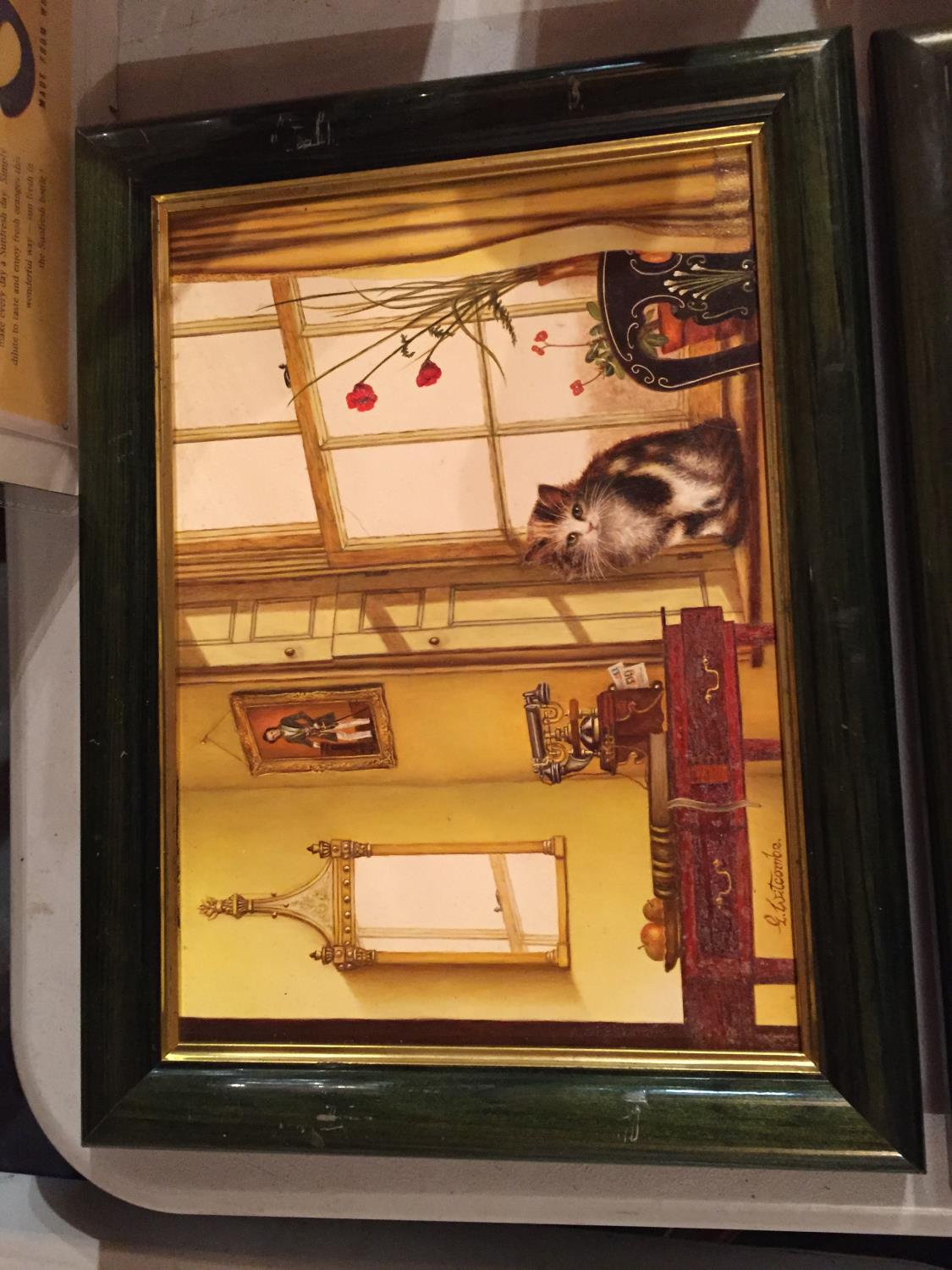 TWO FRAMED PAINTINGS OF A CAT IN A WINDOW AND A DOG IN A WINDOW - Image 5 of 6