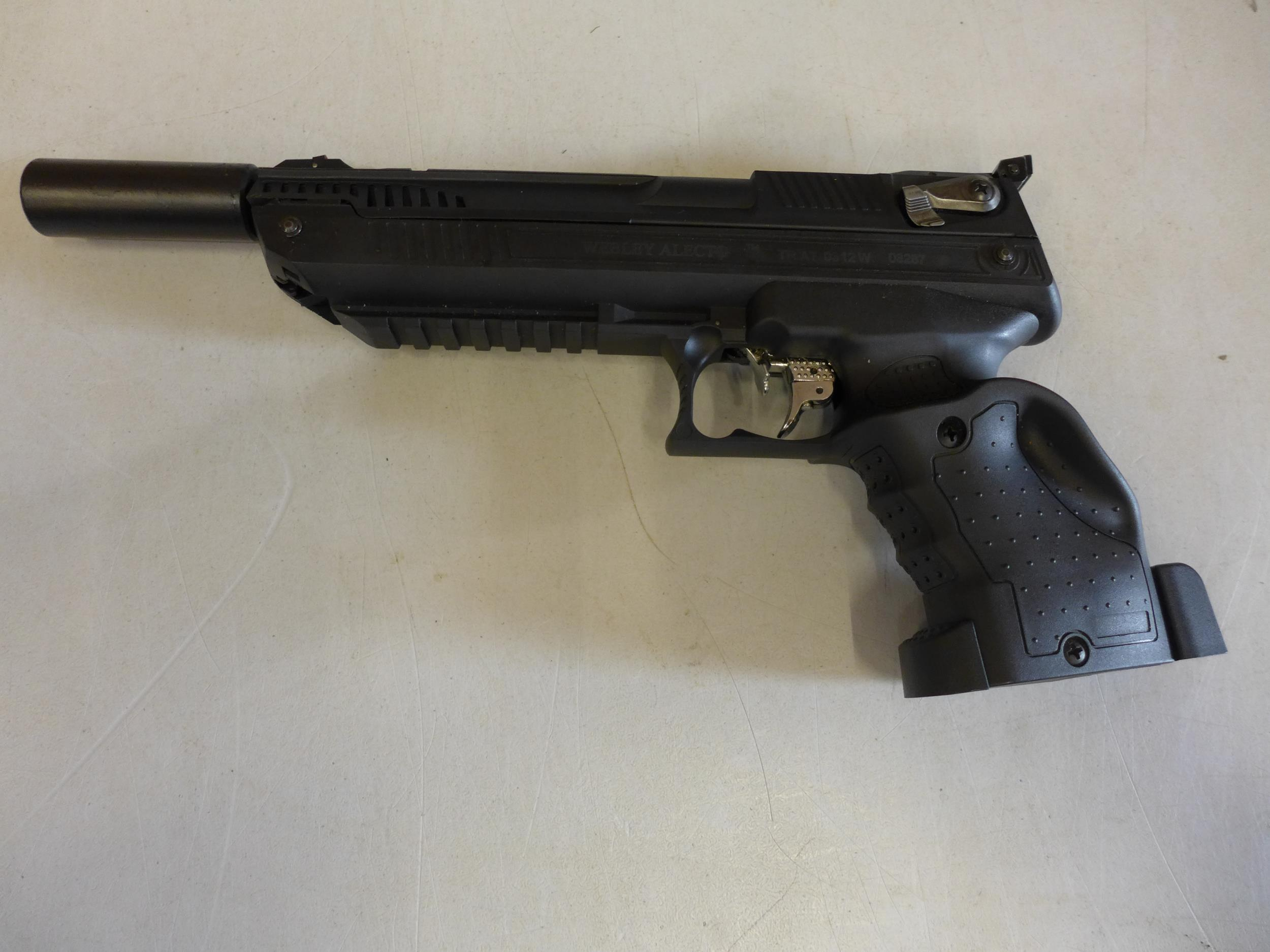 A CASED WEBLEY ALECT .177 CALIBRE AIR PISTOL, WITH SCREW ON SILENCER AND A TIN OF PELLETS - Image 2 of 4