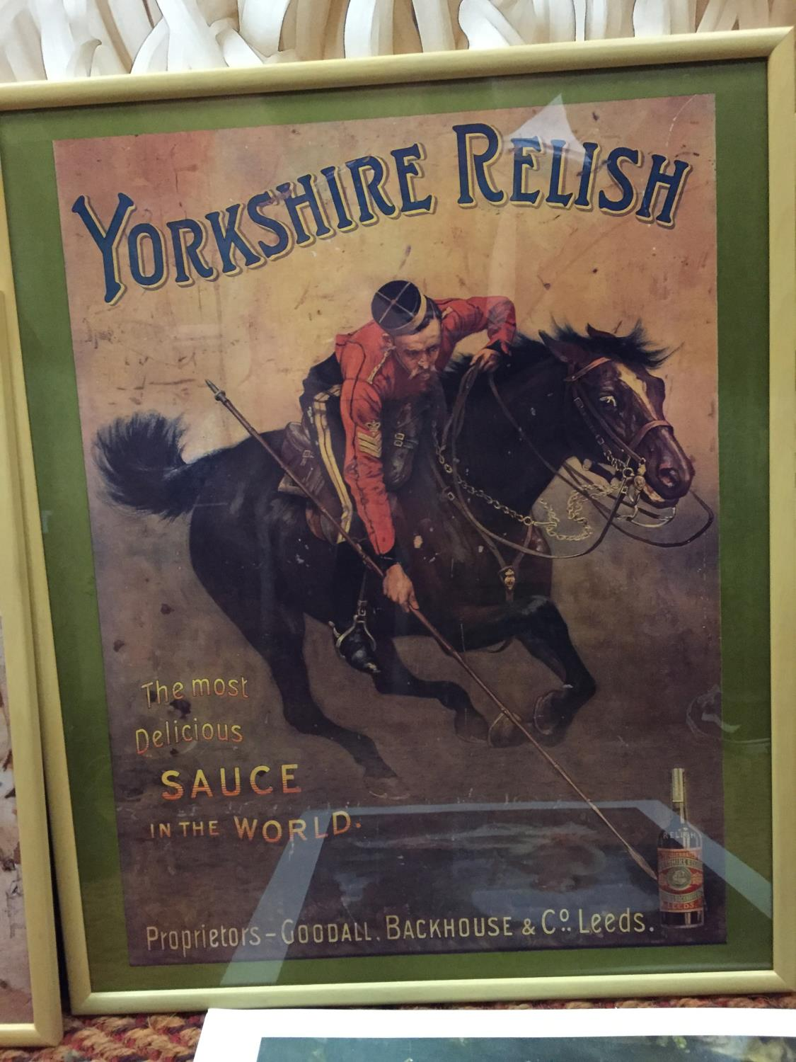 A GROUP OF FOUR ADVERTISING POSTERS, TWO FRAMED TO INCLUDE YORKSHIRE RELISH, PEARS SOAP, JACOBS - Image 10 of 10
