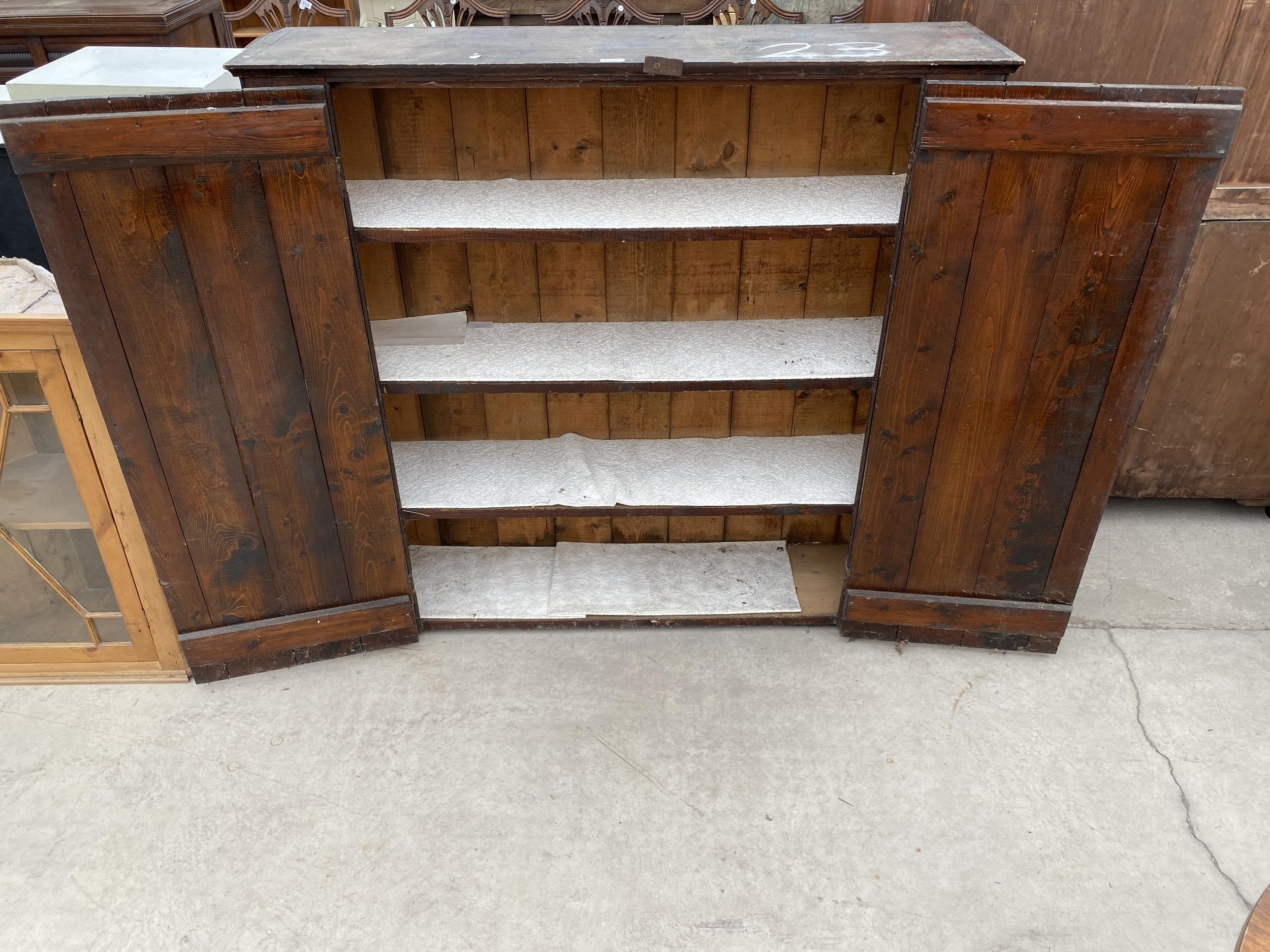 """A TWO DOOR STAINED PINE CUPBOARD 49"""" WIDE - Image 5 of 6"""