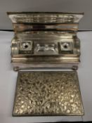 TWO SILVER PLATED ITEMS TO INCLUDE A DESK SET AND A FURTHER ORNATE BOX