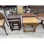 TWO OAK STOOLS AND A BEST OF TWO OAK TABLES