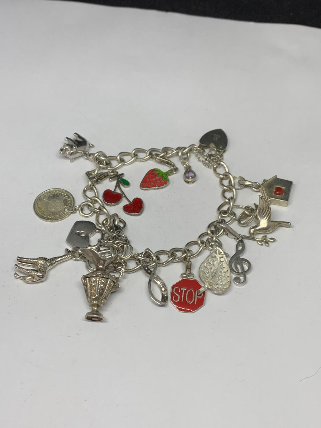 A HEAVY SILVER CHARM BRACELET WITH THIRTEEN CHARMS TO INCLUDE A STRAWBERRY, CHERRIES, DOVE ETC