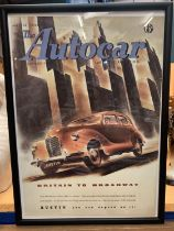 A FRAMED 'THE AUTOCAR' AUSTIN BRITAIN TO BROADWAY POSTER MAY 14TH 1948 44CM X 31.5CM