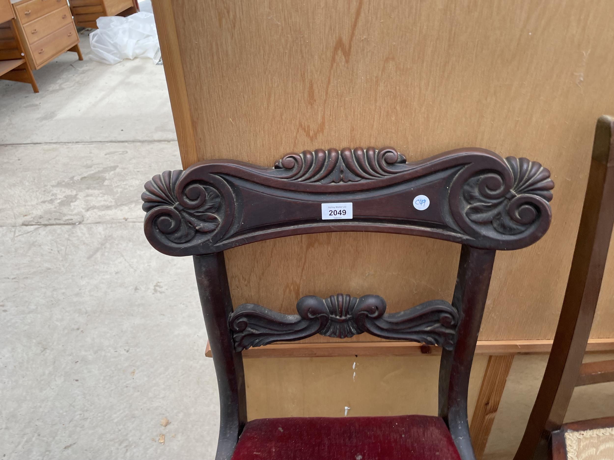 A 19TH CENTURY MAHOGANY DINING CHAIR - Image 2 of 3