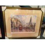 A FRAMED PRINT OF A VICTORIAN STREET SIGNED J L CHAPMAN LIMITED EDITION NUMBER 102/850