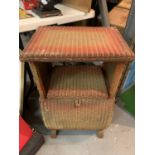 A 1930'S LLOYD LOOM STYLE BEDSIDE TABLE WITH STORAGE
