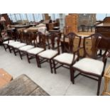 A SET OF EIGHT HEPPLEWHITE STYLE DINING CHAIRS, TWO BEING CARVED