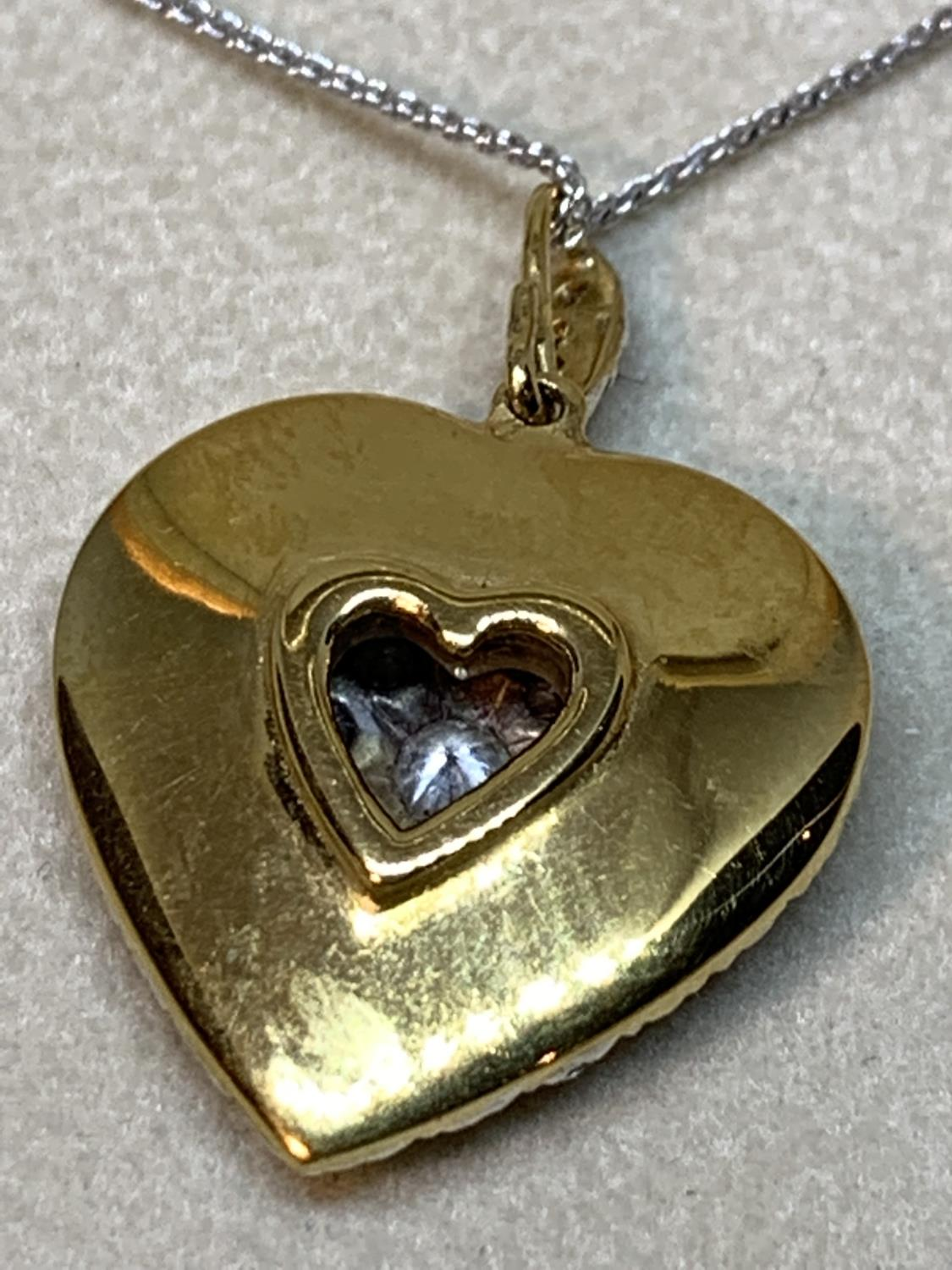 A 15 CARAT WHITE AND YELLOW GOLD LARGE DIAMOND ENCRUSTED HEART PENDANT WITH CHAIN LENGTH 44CM IN A - Image 6 of 8