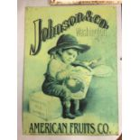 A METAL 'JOHNSON & CO APPLES' SIGN