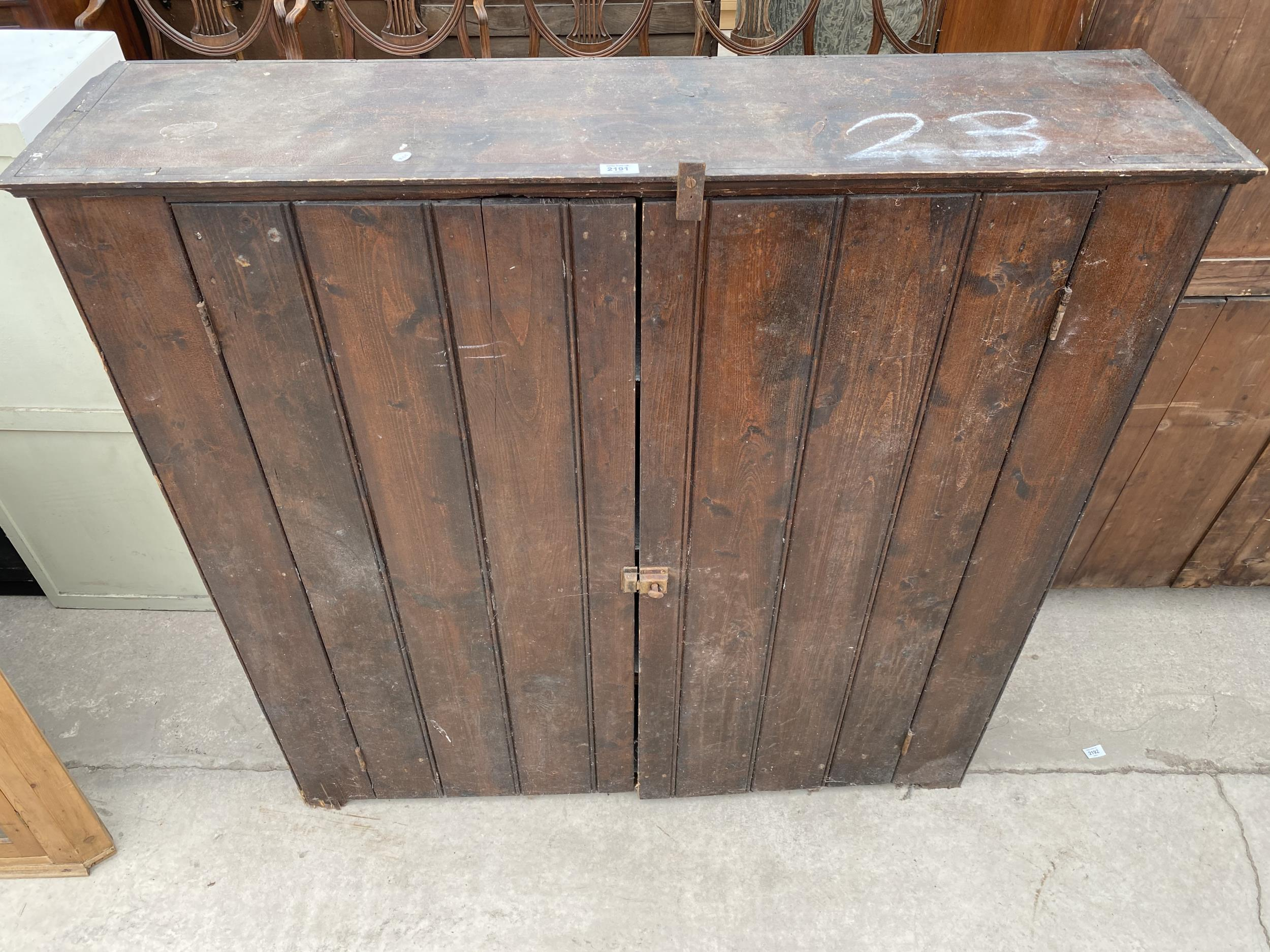 """A TWO DOOR STAINED PINE CUPBOARD 49"""" WIDE - Image 2 of 6"""