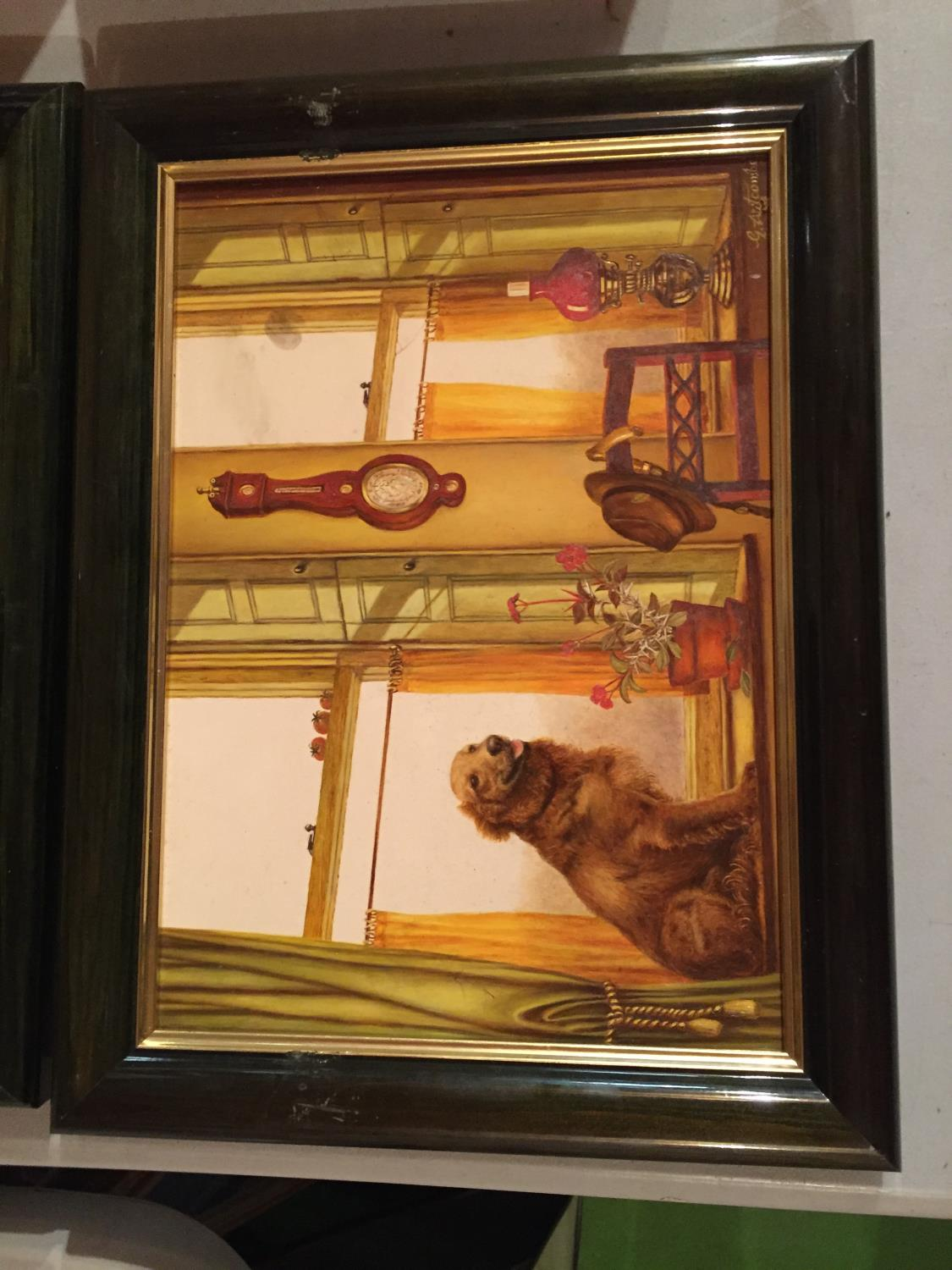 TWO FRAMED PAINTINGS OF A CAT IN A WINDOW AND A DOG IN A WINDOW - Image 3 of 6