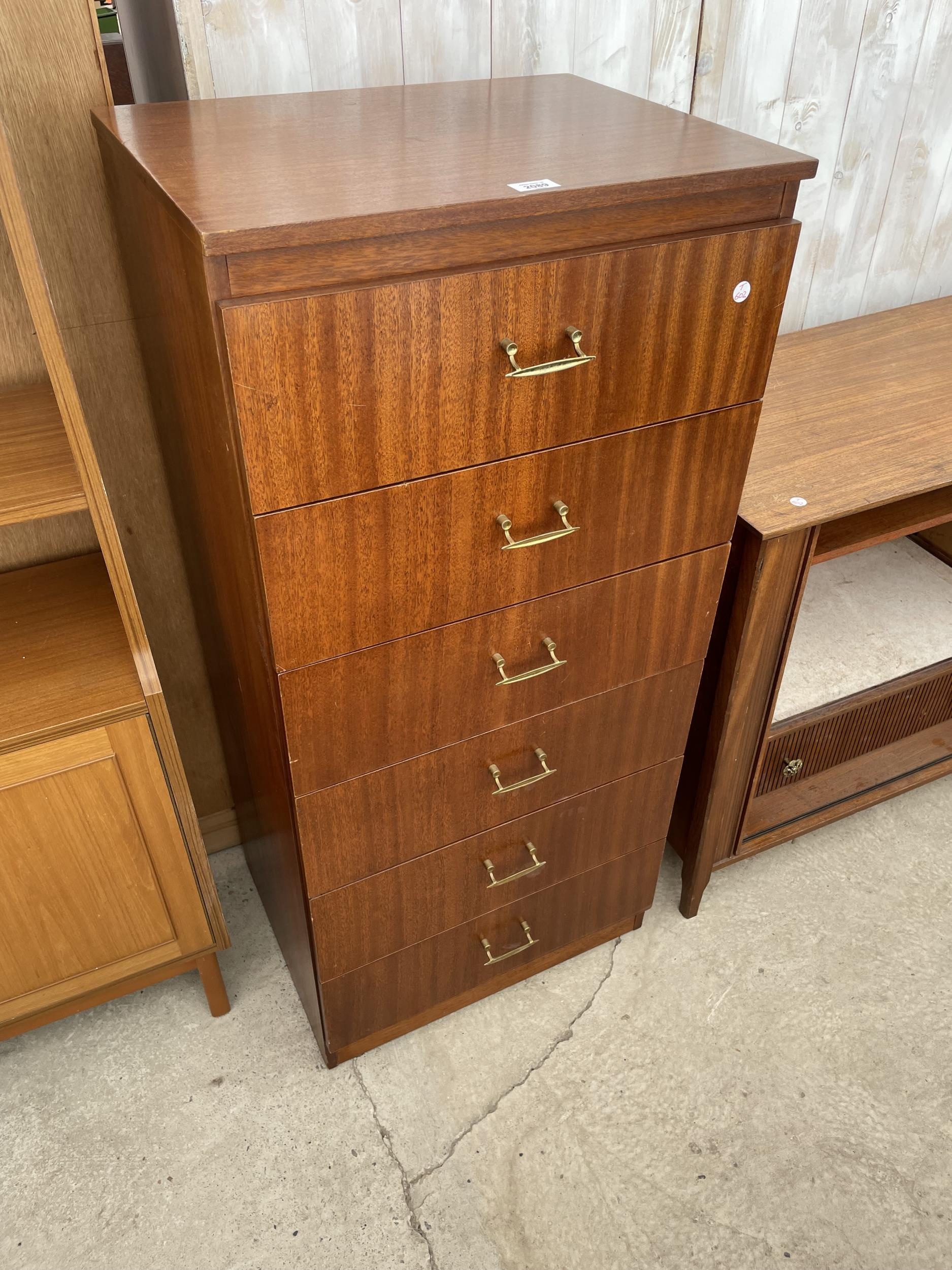 """A RETRO TEAK REMPLOY CHEST OF SIX DRAWERS, 21.5"""" WIDE"""