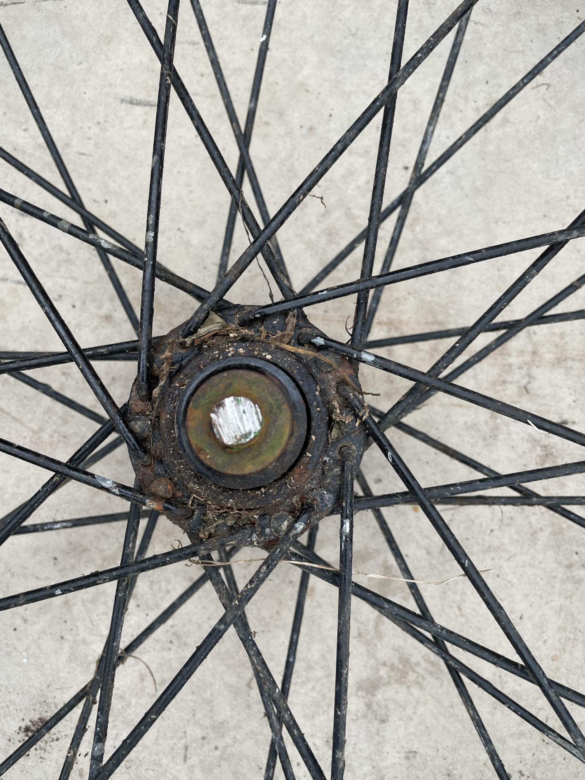 A LARGE THICK TREAD SIDE CAR WHEEL - Image 2 of 2