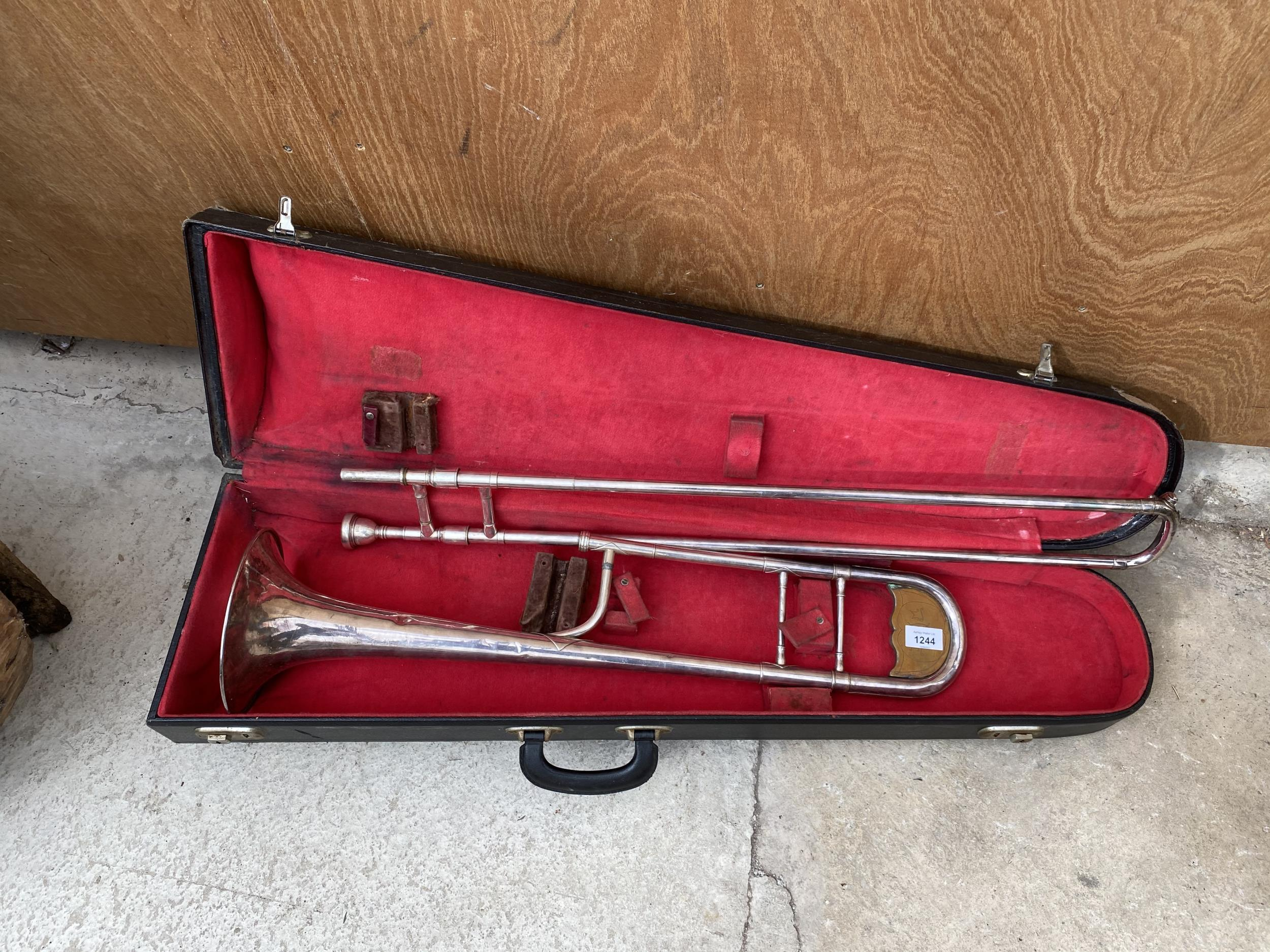 A VINTAGE AND CASED TROMBONE - Image 4 of 4