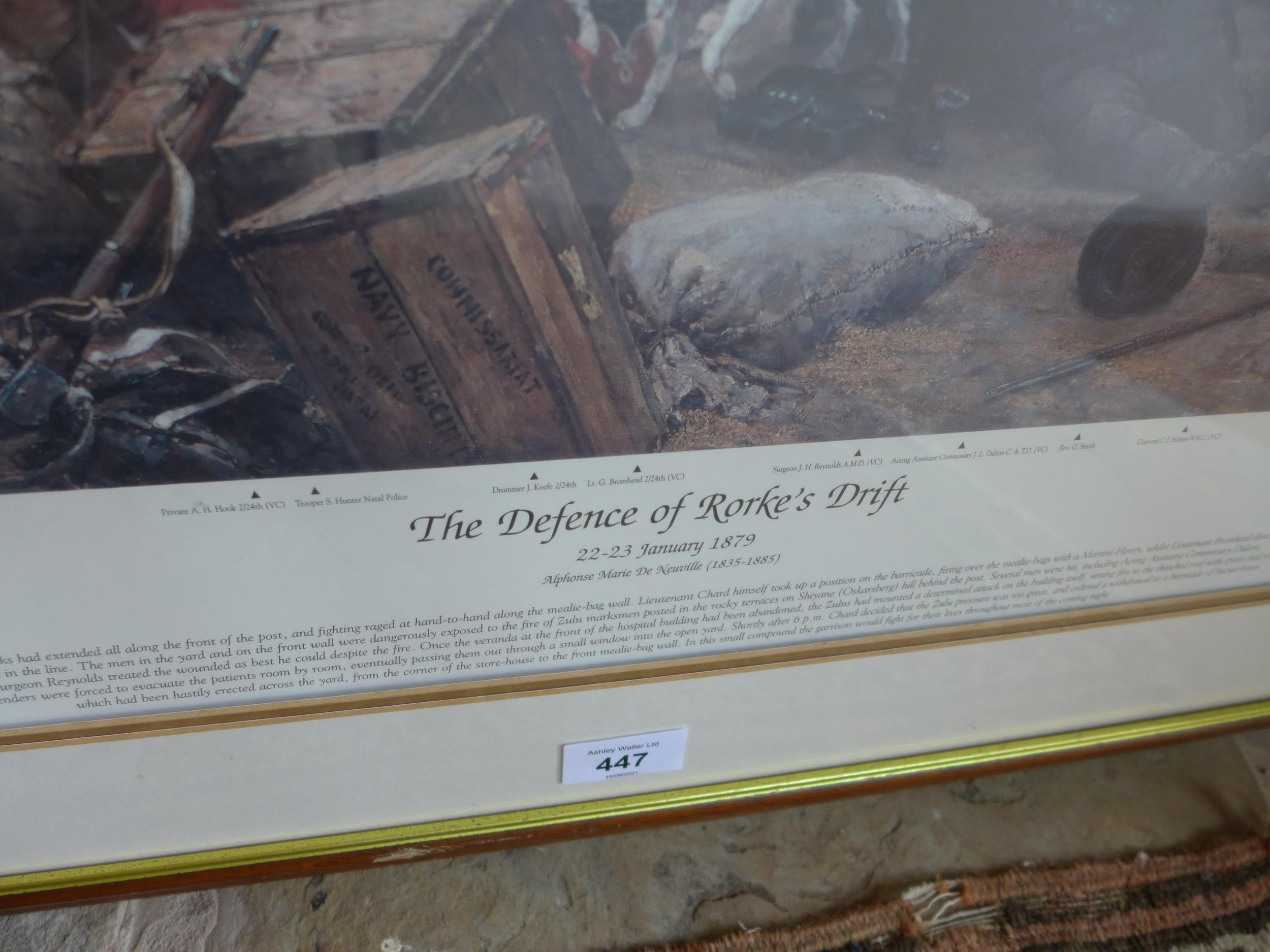 A LARGED FRAMED AND GLAZED COLOUR PRINT OF THE DEFENCE OF RORKE'S DRIFT, 22-23RD JANUARY 1879 WITH - Image 2 of 4