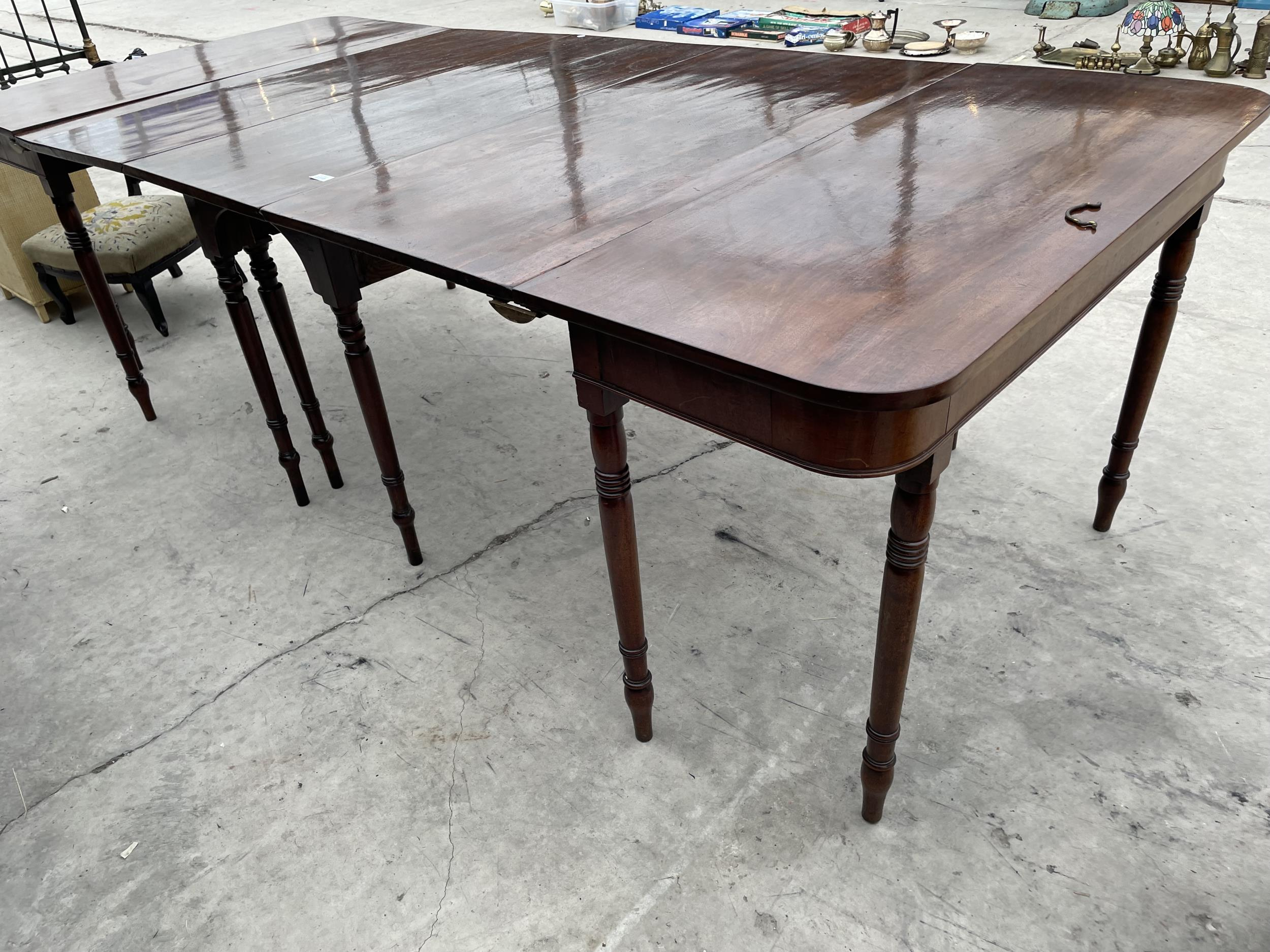 """A 19TH CENTURY MAHOGANY D-END DINING TABLE ON TURNED LEGS 101"""" X 44"""" FULLY EXTENDED"""