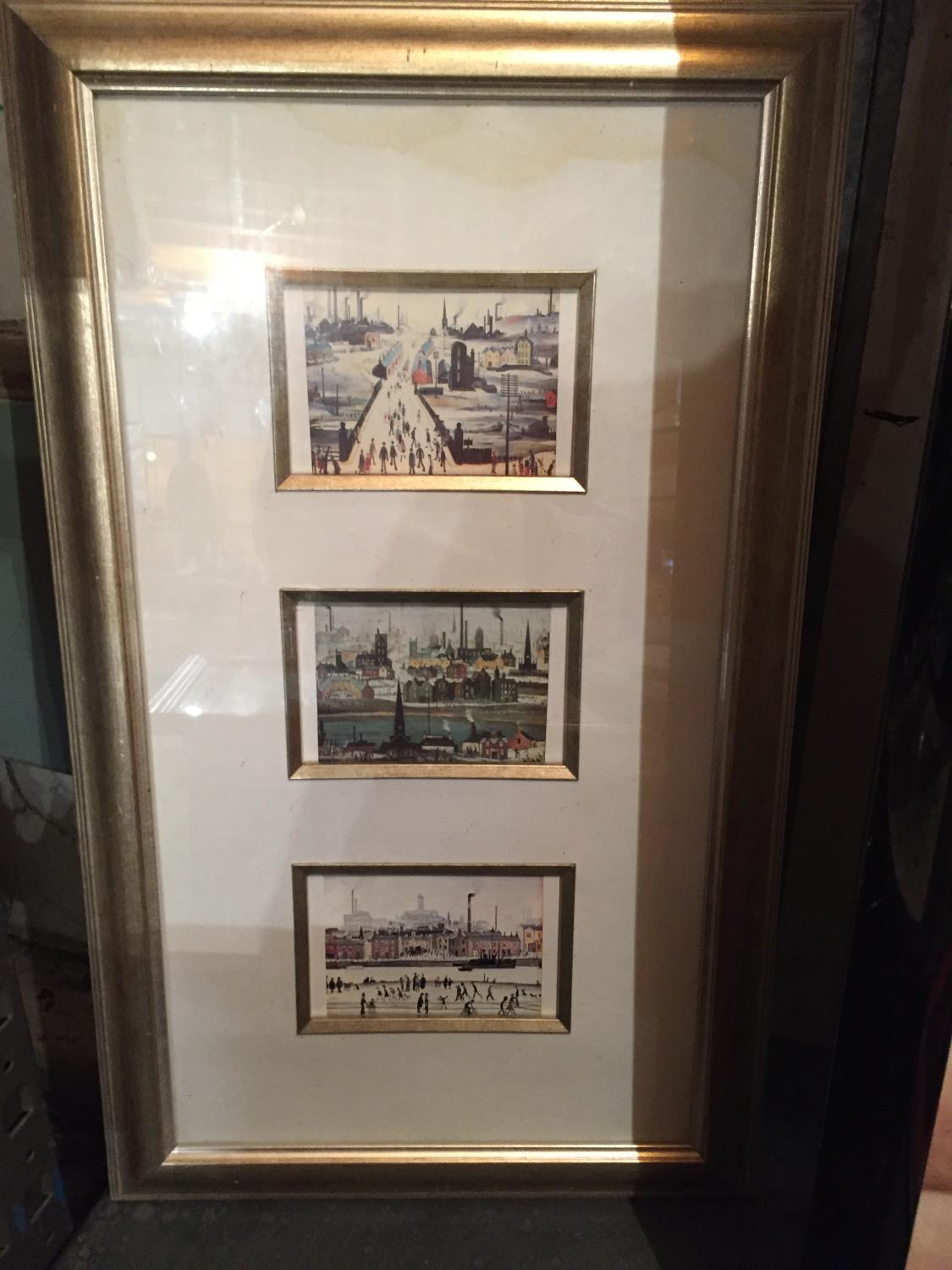 FOUR FRAMED LS LOWERY PRINTS TO INCLUDE A MONTAGE OF THREE - Image 9 of 10
