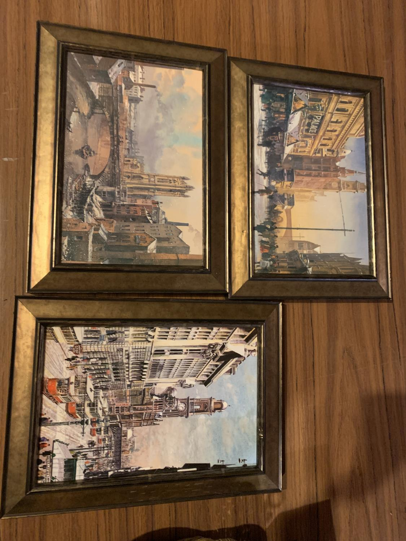 THREE FRAMED PRINTS OF CITY SCENES