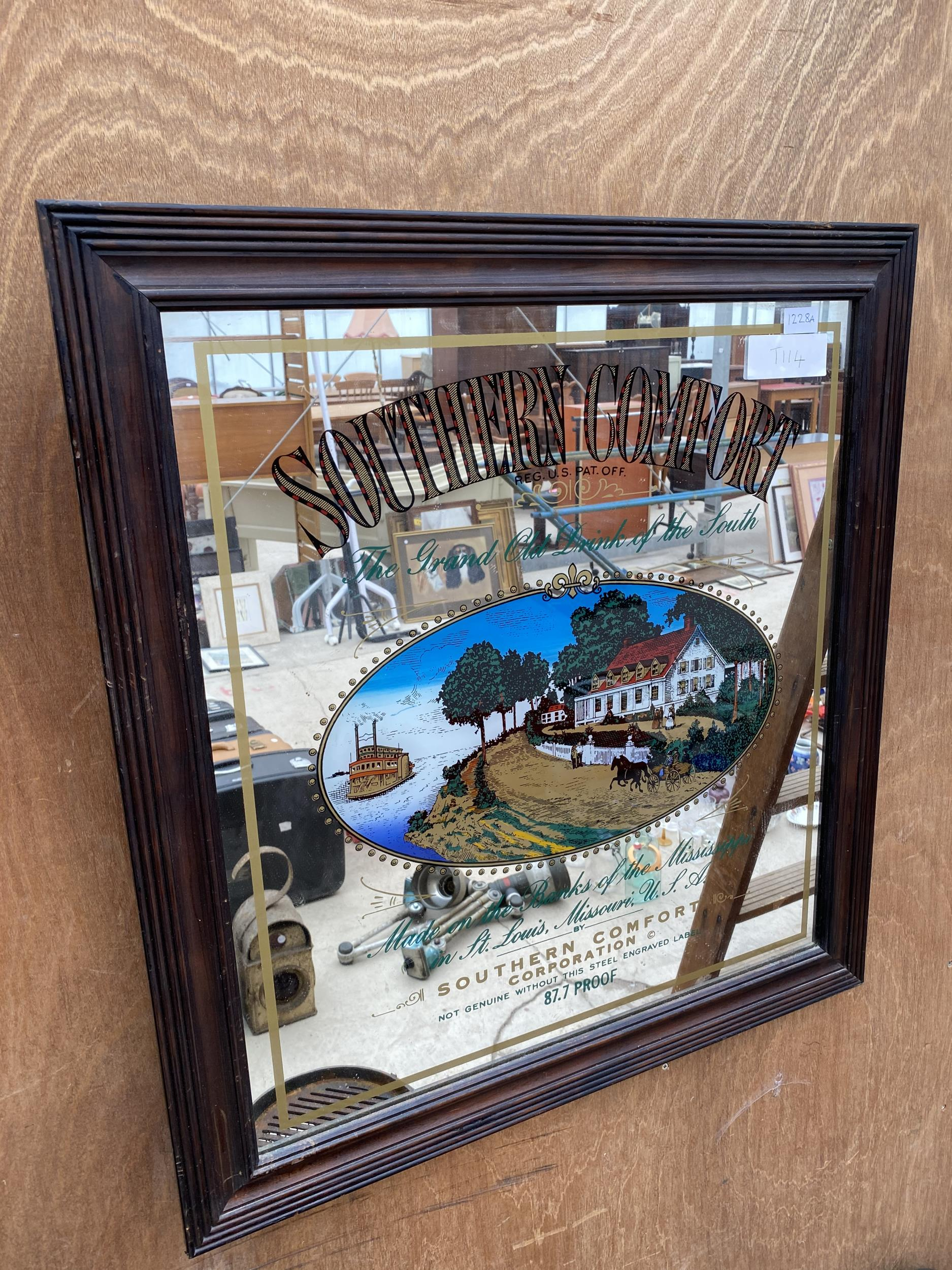 A WOODEN FRAMED 'SOUTHERN COMFORT' ADVERTISING PUB MIRROR - Image 3 of 3