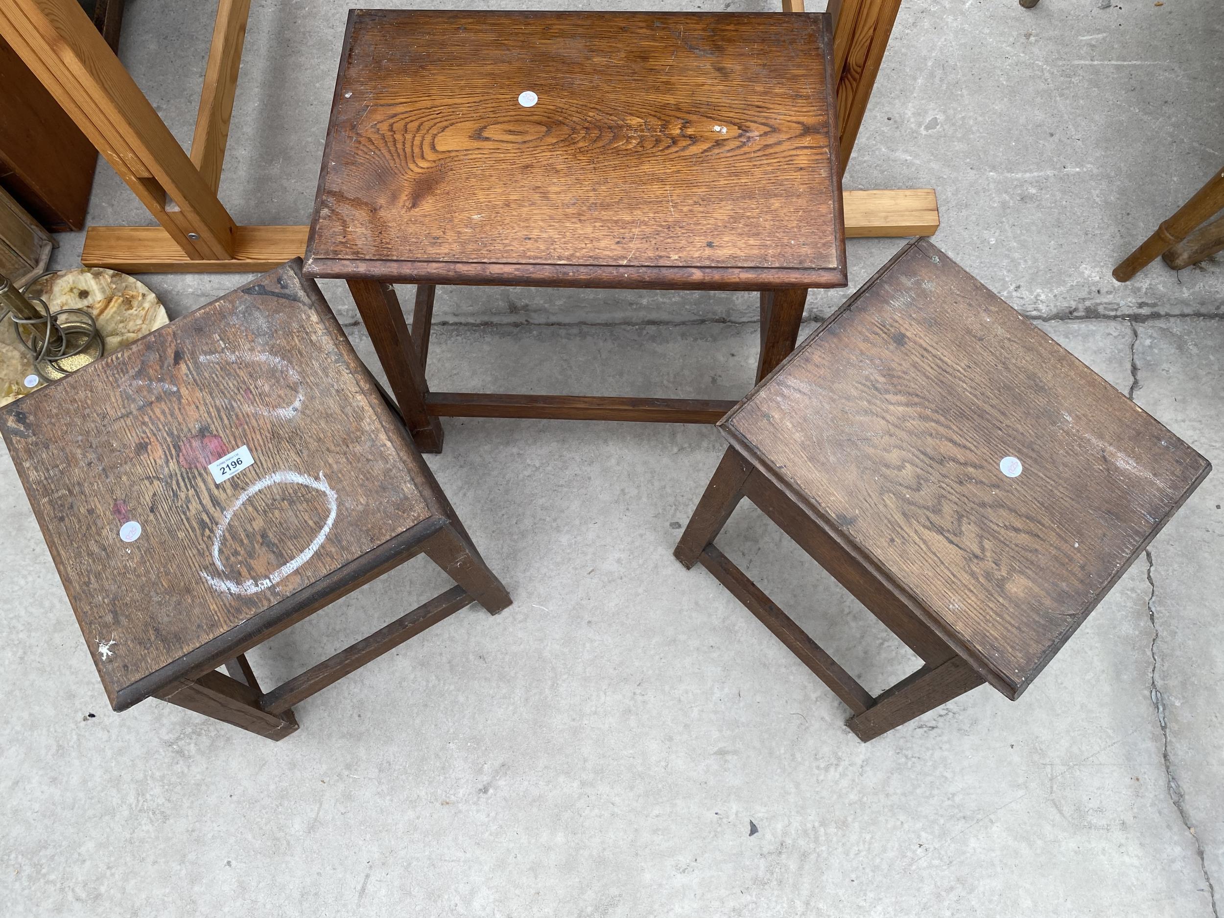 THREE OAK STOOLS - Image 2 of 3