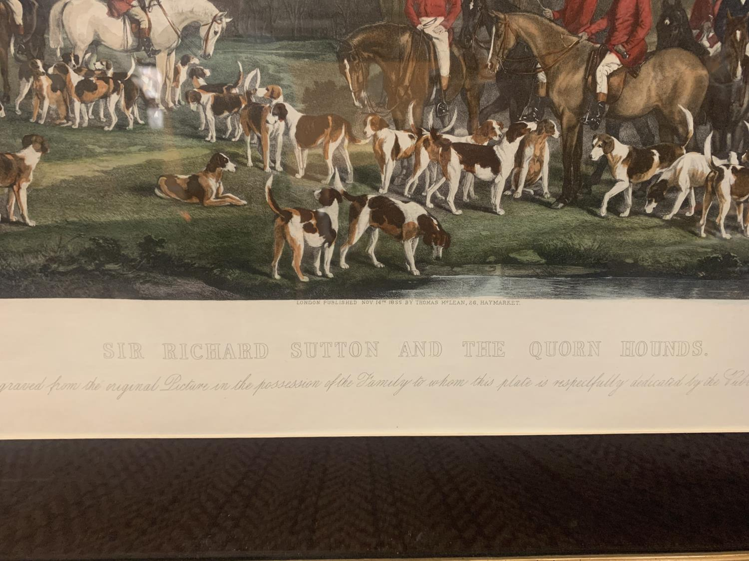 A FRAMED ETCHING OF SIR RICHARD HUTTON AND THE QUORN HOUNDS - Image 6 of 8