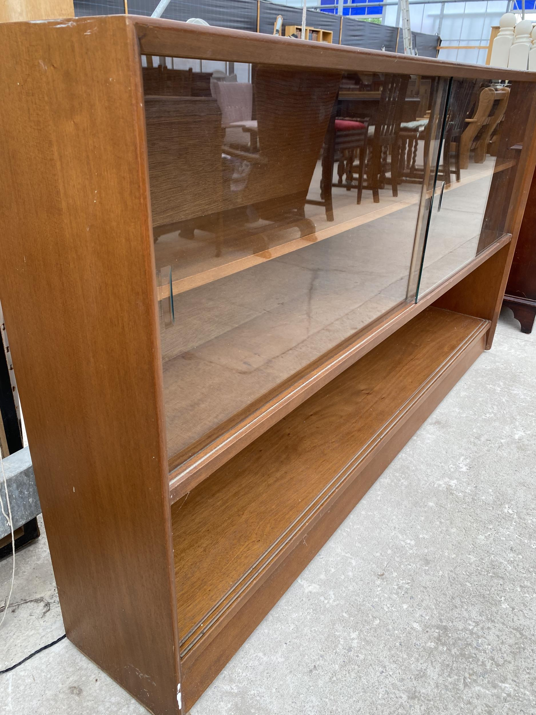"""A RETRO TEAK HERBENT AND GIBBS GLASS FRAMED BOOKCASE 60"""" WIDE - Image 4 of 6"""