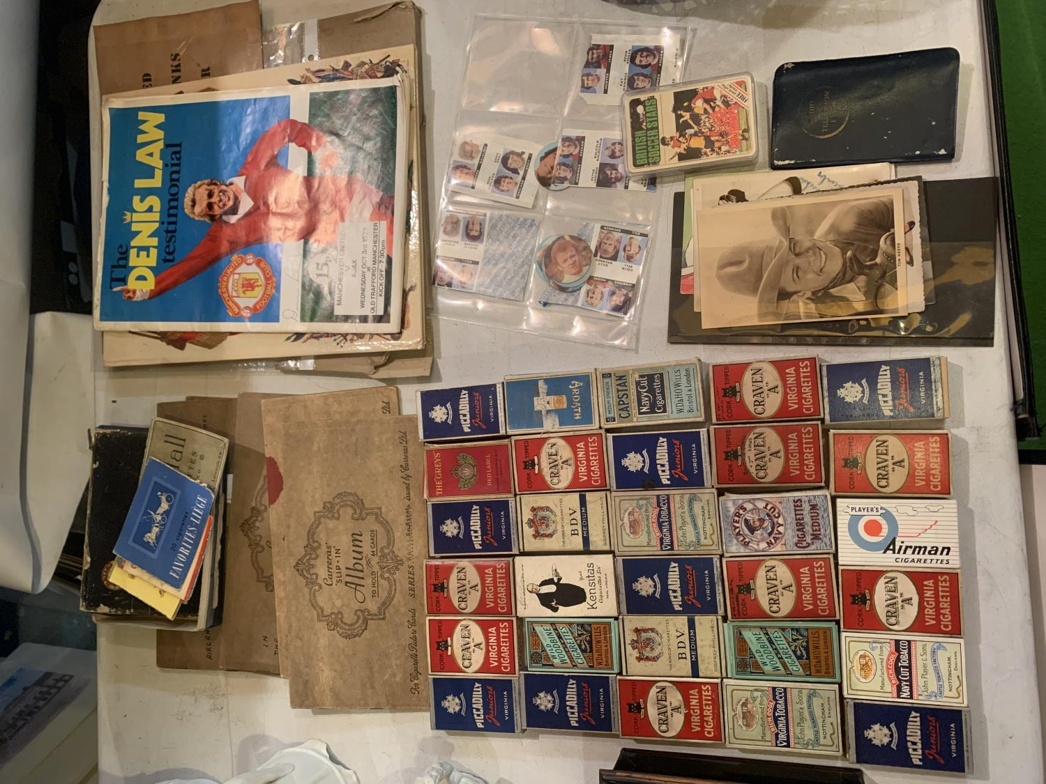 A LARGE QUANTITY OF EPHEMERA TO INCLUDE A DENNIS LAW TESTOMNIAL PROGRAMME, VINTAGE CIGARETTE