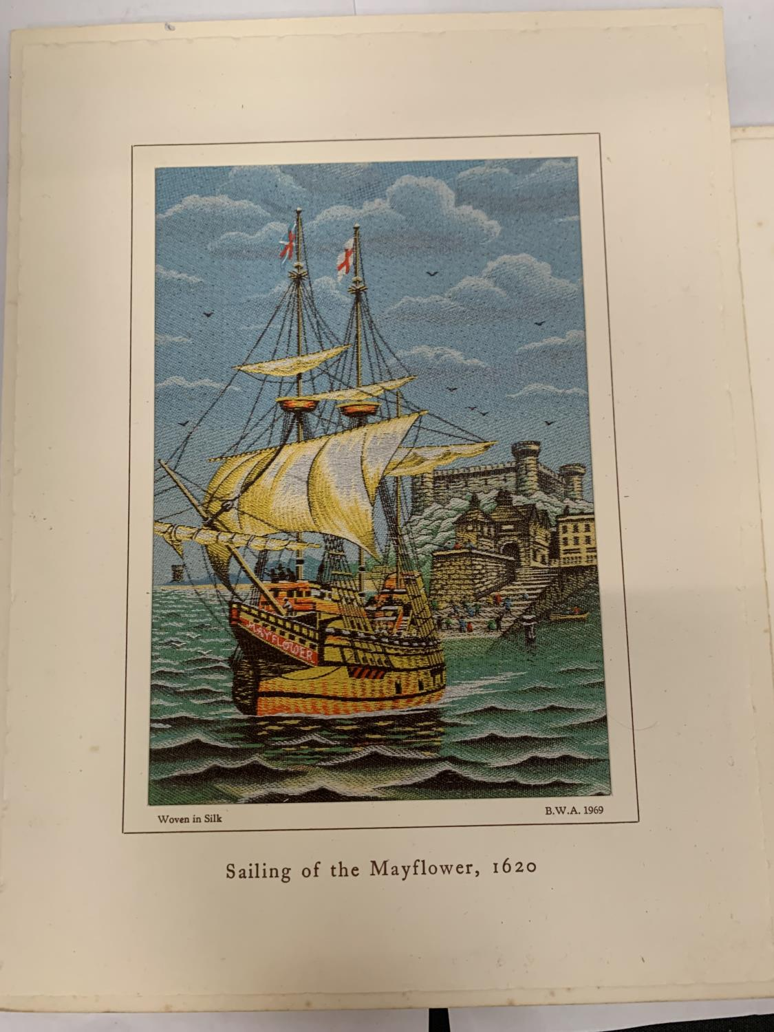 TWO BROCKLEHURST-WHISTON MACCLESFIELD MOUNTED SILKS - SAILING OF THE MAYFLOWER 1620 AND THE HOUSE OF