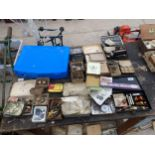AN ASSORTMENT OF FISHING TACKLE TO INCLUDE FLOATS, LEADS AND HOOKS ETC
