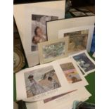 A LARGE COLLECTION OF MOUNTED AND UNMOUNTED PRINTS TO INCLUDE CLAUDE MONET PRINT, AMERICAN
