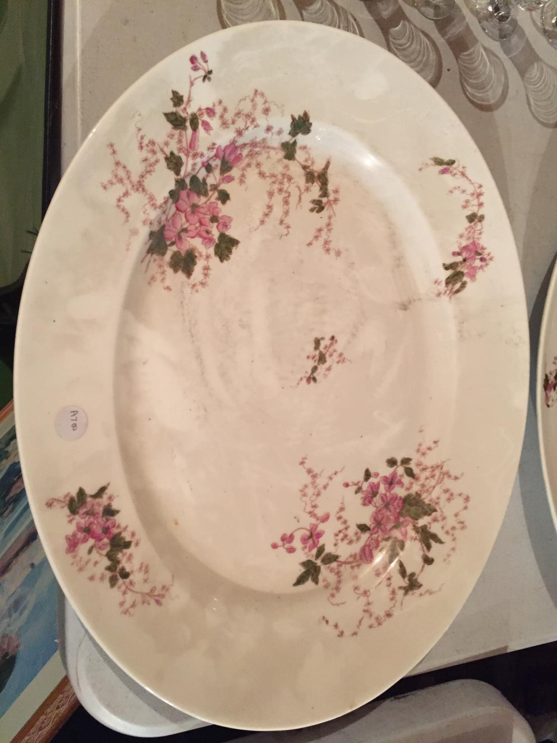 TWO LARGE HEAVY CERAMIC MEAT PLATTERS WITH A DELICATE PINK FLOWER DESIGN - Image 3 of 6