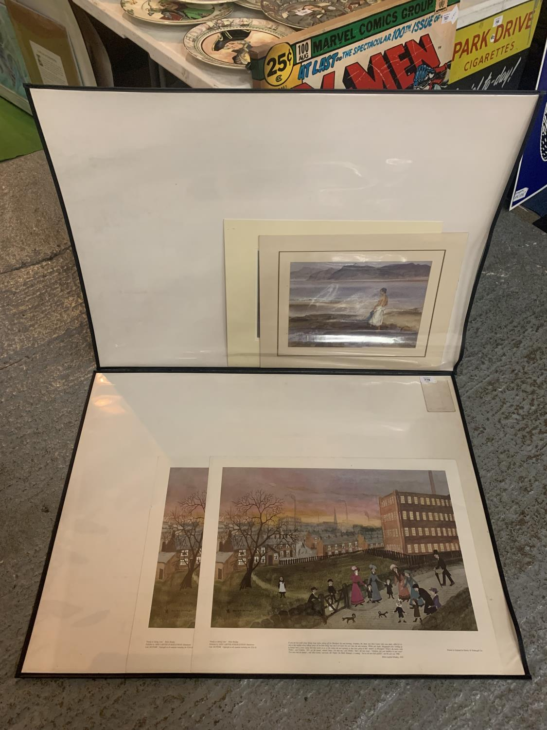 TWO PRINTS OF 'FAMILY IN SPRING LANE' BY HELEN BRADLEY AND TWO SMALLER PRINTS MOUNTED IN LARGE ART