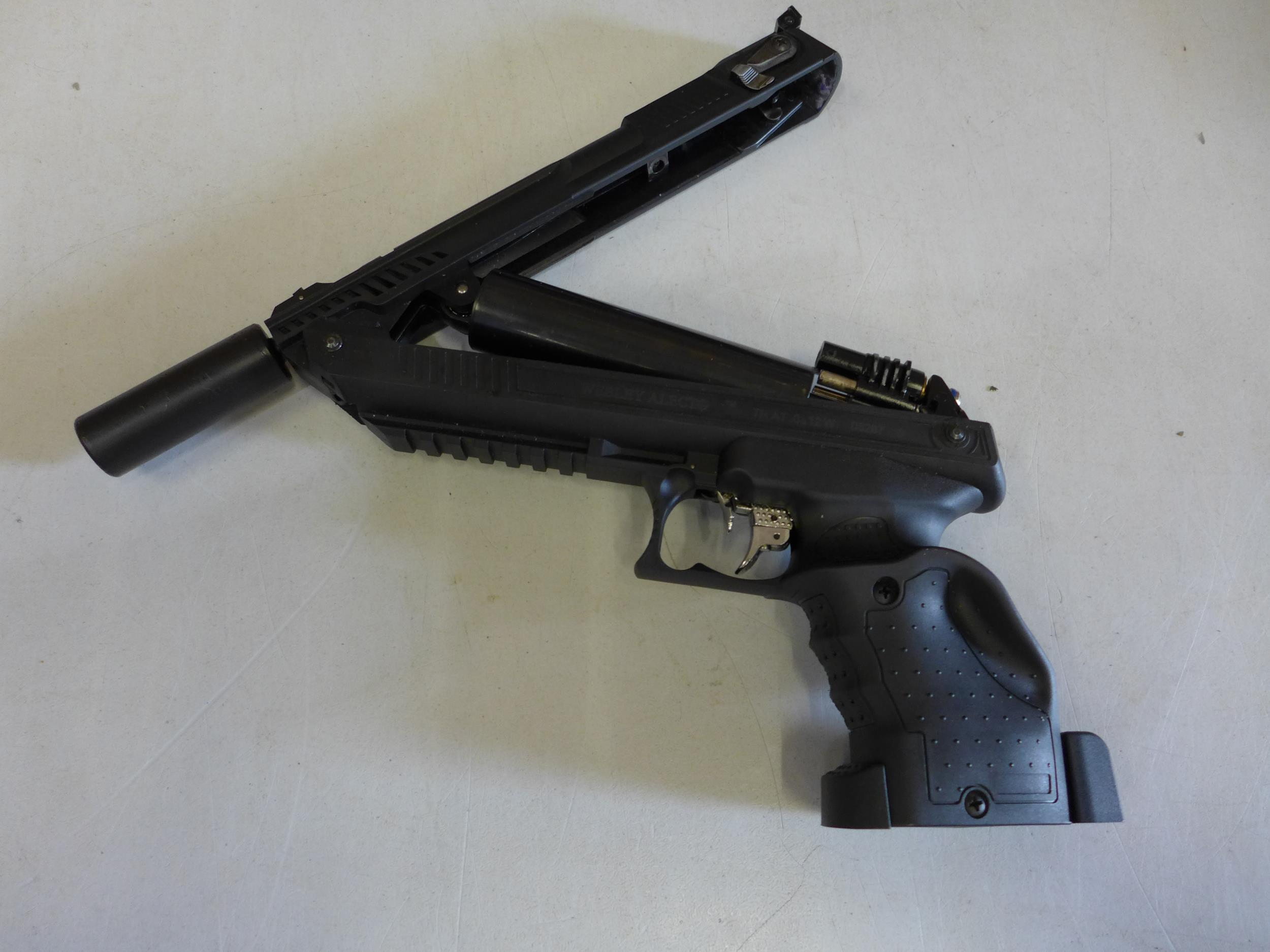 A CASED WEBLEY ALECT .177 CALIBRE AIR PISTOL, WITH SCREW ON SILENCER AND A TIN OF PELLETS - Image 4 of 4