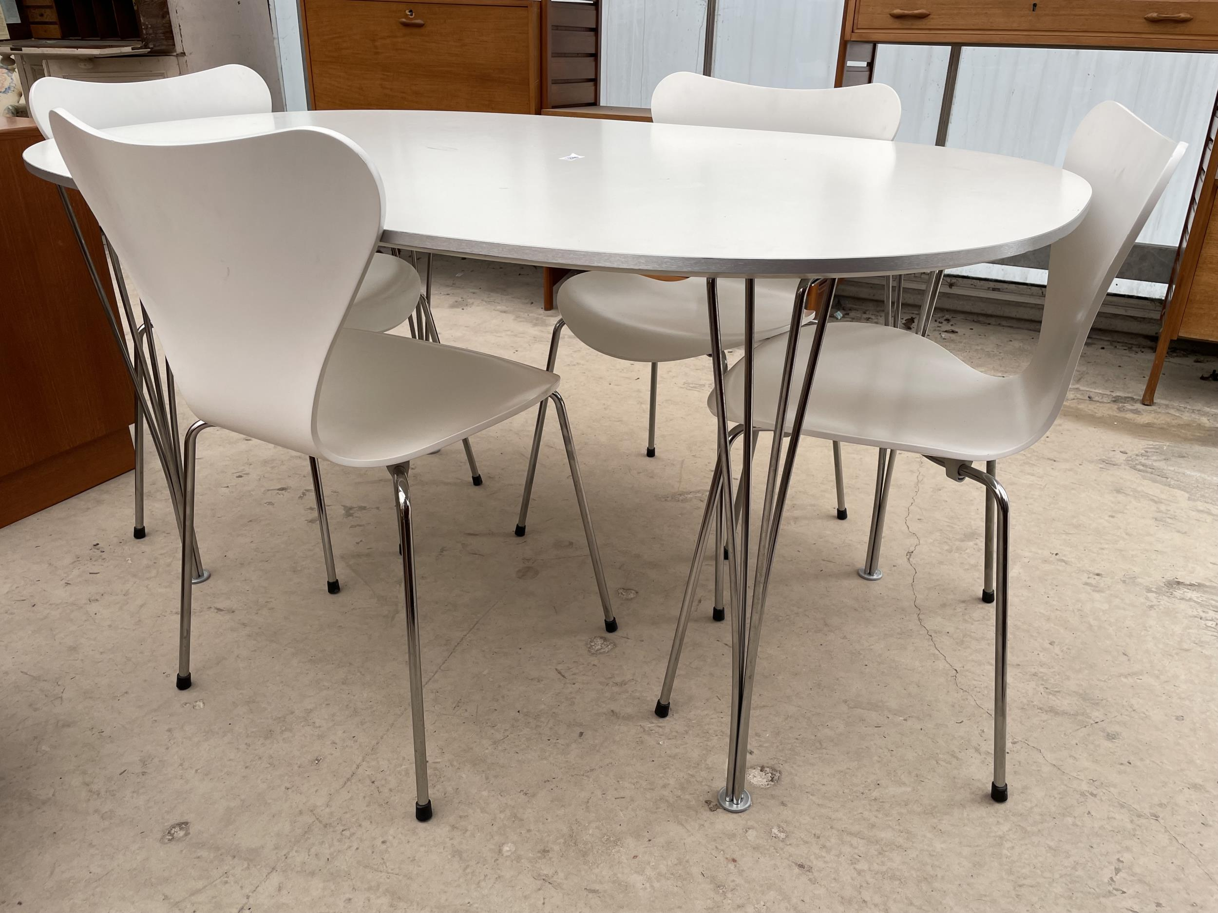 A WHITE OVULAR DINING TABLE BEARING LABEL 'MADE IN DENMARK, REPUBLIC OF FRITZ HANSEN DESIGN: PIET - Image 2 of 5