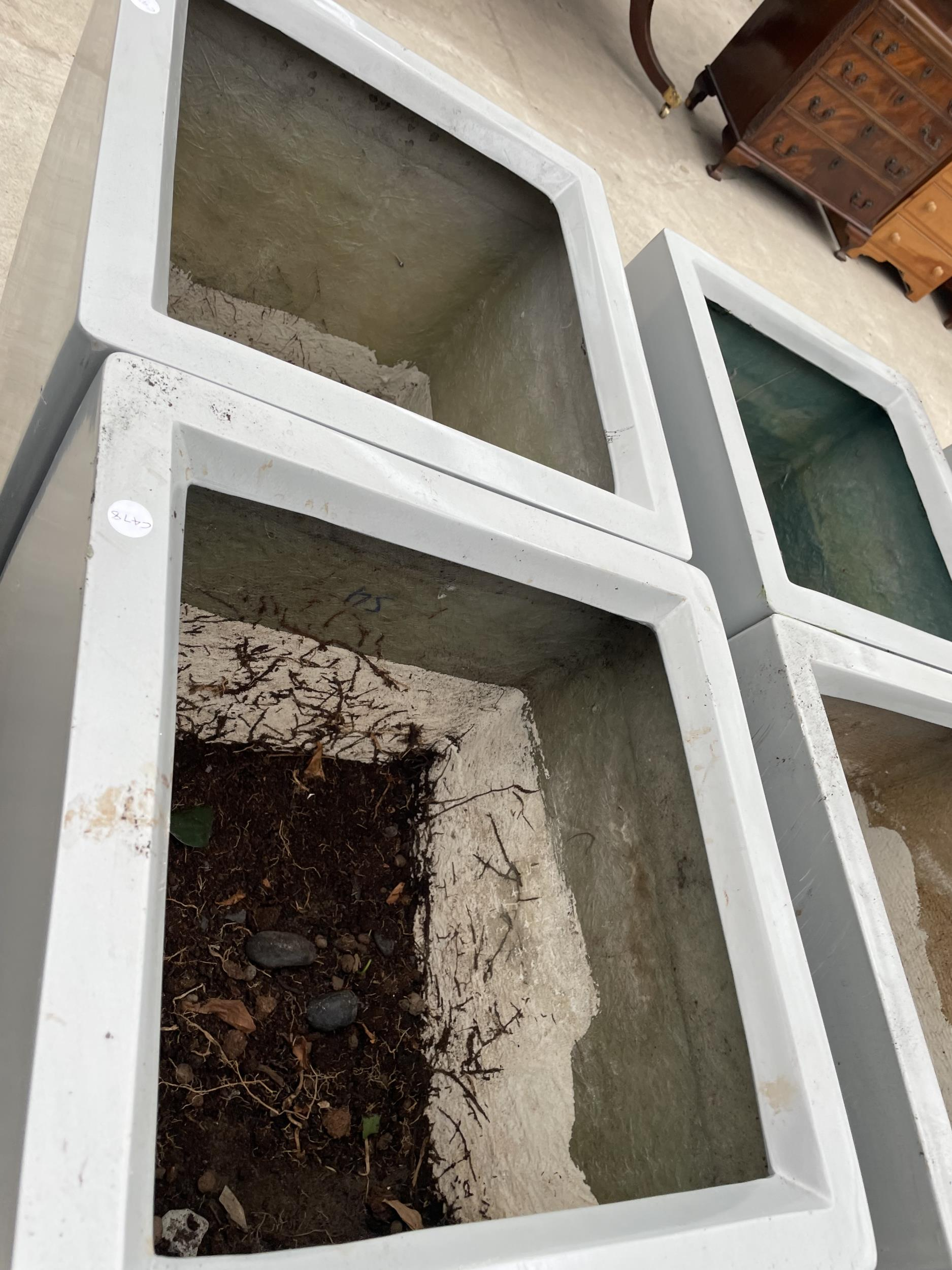 TWO LARGE GREY PLASTIC PLANTERS - Image 2 of 3