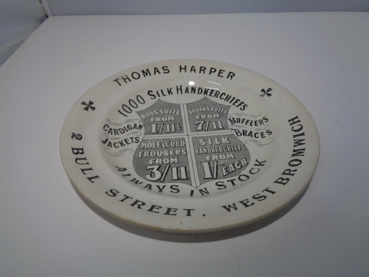 A VICTORIAN ADVERTISING PLAQUE 'THOMAS HARPER' - Image 2 of 4