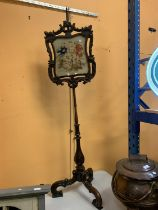 A 19TH CENTURY MAHOGANY POLE SCREEN WITH TAPESTRY PANEL, HEIGHT ADJUSTABLE