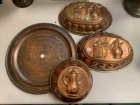 A COLLECTION OF FOUR COPPER ITEMS TO INCLUDE A 'WELLENS WARE' CHARGER 36.6CM DIAMETER TOGETHER