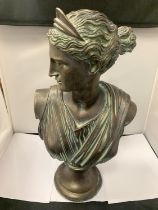 A LARGE BRONZE EFFECT STONE BUST OF 'DIANA' 53CM HEIGHT