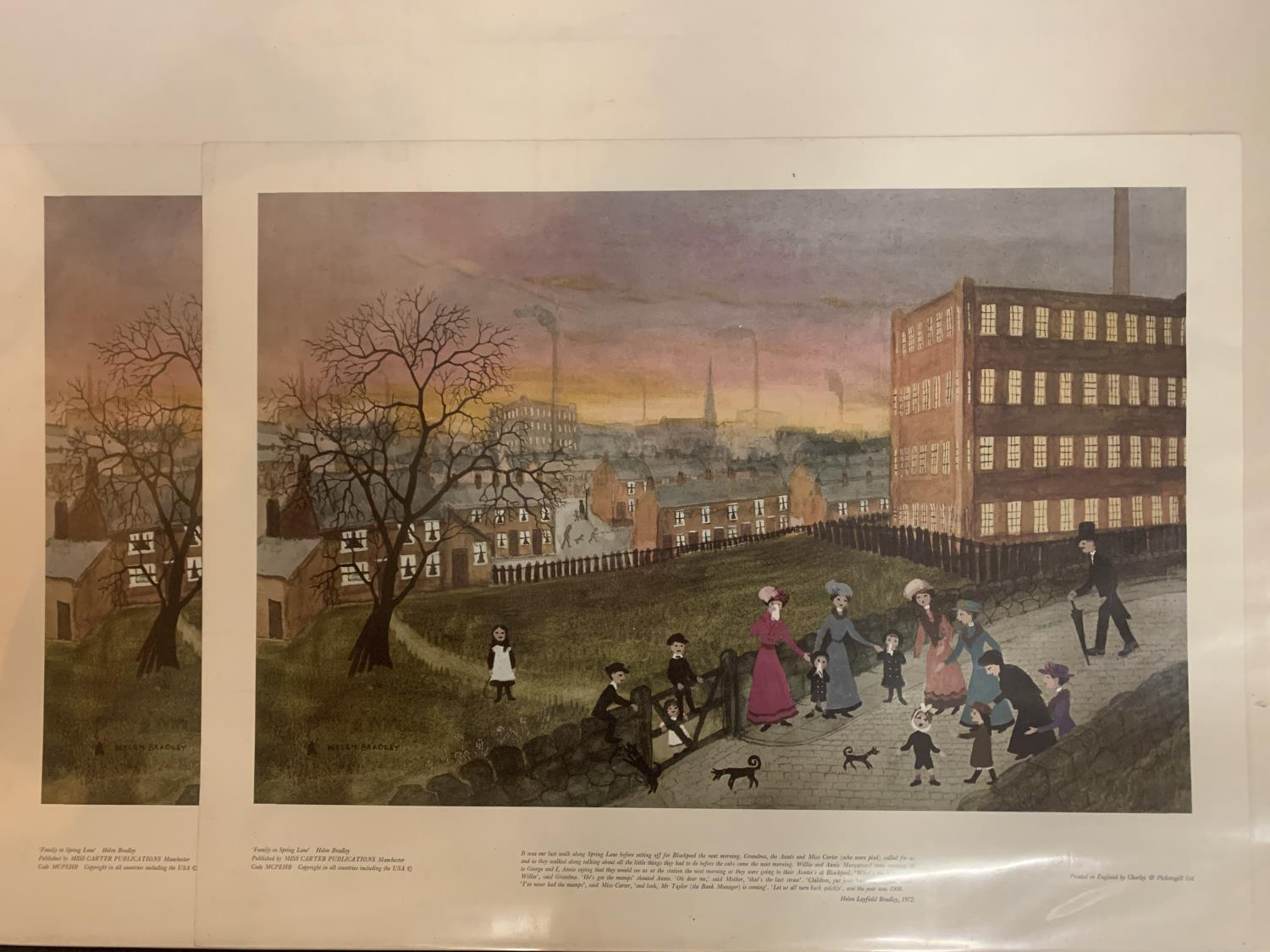 TWO PRINTS OF 'FAMILY IN SPRING LANE' BY HELEN BRADLEY AND TWO SMALLER PRINTS MOUNTED IN LARGE ART - Image 4 of 6