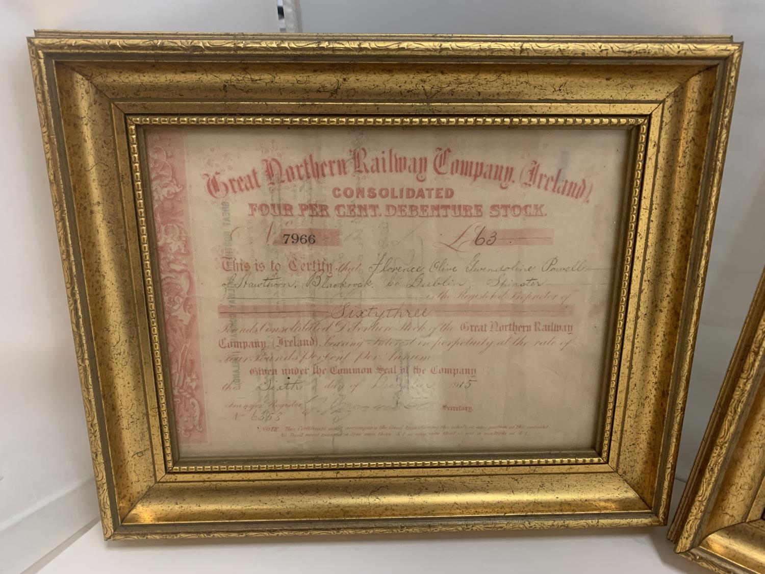 TWO GILT FRAMED GREAT NORTHERN RAILWAY SHARES CERTIFICATES - Image 3 of 6