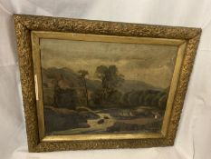 AN INDISTINCT SIGNED OIL ON CANVAS OF A RIVER SCENE 34CM X 44CM (SOME DAMAGE SEE PHOTOGRAPH)