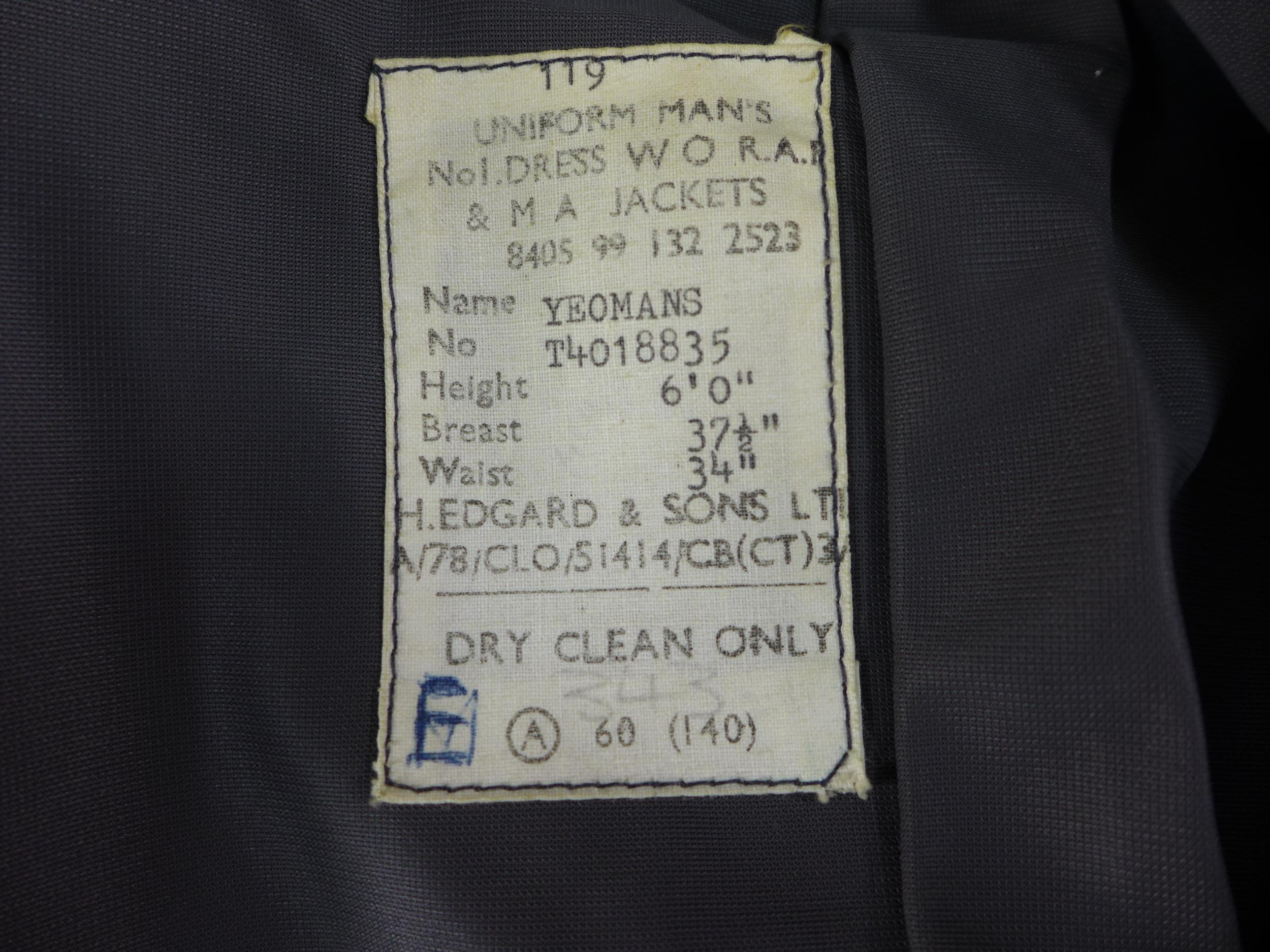 A RAF NO.1 DRESS WARRANT OFFICERS UNIFORM COMPRISING OF A JACKET AND TROUSERS, SEE IMAGE FOR SIZE - Image 3 of 3