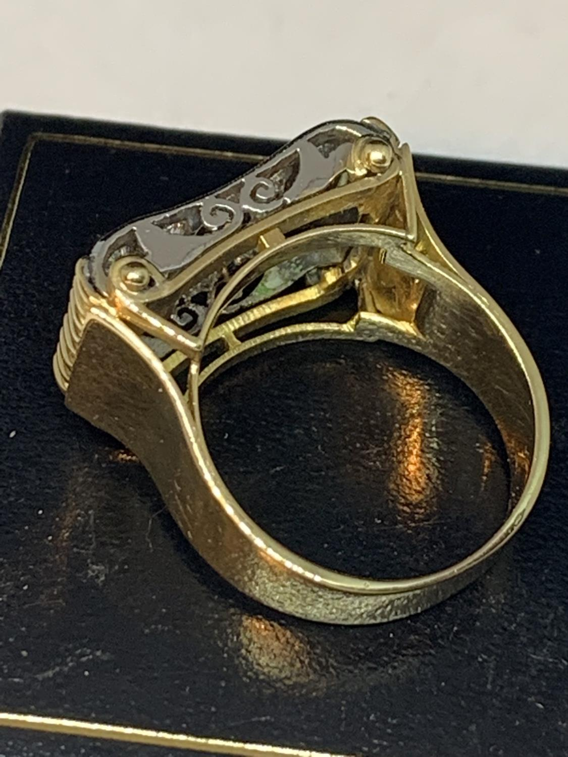 A HEAVY 18 CARAT GOLD RING WITH FIFTEEN DIAMONDS SET IN A RECTANGLE OF DIAMOND CHIPS GROSS WEIGHT 13 - Image 5 of 10